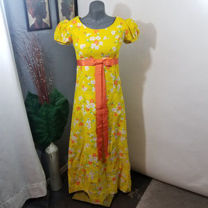 Vintage 1960s Yellow Floral Maxi Dress Size Small